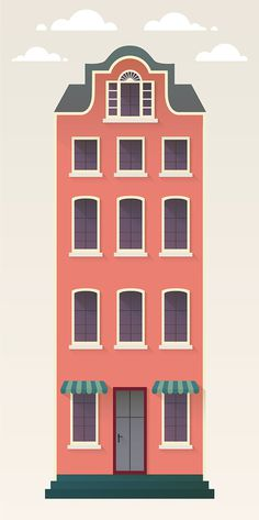 Europe inspired building illustration, maybe a hotel? an apartment? a patisserie?