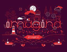 Ilustraciones personalizadas para uso en Identidad Visual.http://www.behance.net/gallery/Piensa Crea Imagina y Comunica/11589541 #typography