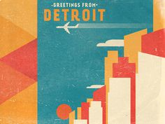 Greetings From Detroit #simple #fun #graphic #clean