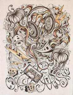 Drawing in Y2012 by Alexander Tyapochkin #busy #frantic #tyapochkin #illustration #alexander #music #drawing