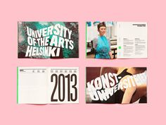 Print designed by Bond for the University of the Arts Helsinki #typography #layout #pink #bond #warped