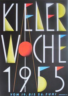 Kieler Woche poster produced for the Kiel Festival 1955 #woche #kieler #poster