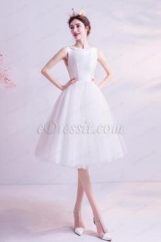 eDressit White Short Knee Length Tulle Cocktail Party Dress (35198907)
