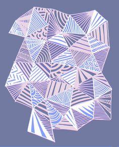 Drawn and digital ice blue triangle pattern print Art Print