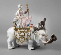 """Meissen""""Persians on elephant with moor."""" #Sets #Teasets #Porcelainsets #Antiqueplates #Plates #Wallplates #Figures #Porcelainfigurines #porcelain"""