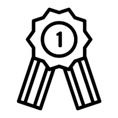 See more icon inspiration related to one, ribbon, sports and competition, gaming, recognition, badge, best, winner, first, medal and games on Flaticon.