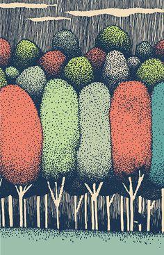 GYKS on Behance #cloud #tree #illustration #art #monster #forest #drawing