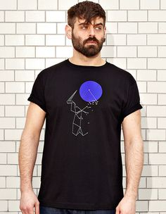 DOT TO DOT & ORIGAMI - black t-shirt - men | NATRI - Shirt Label #silkscreen #geometry #apparel #modern #print #design #graphic #shirt #to #origami #minimal #fashion #dot