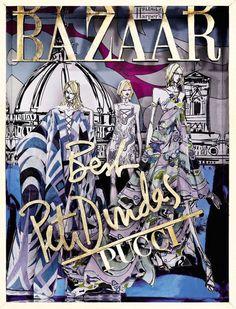 Harper`s Bazaar Russia 15th Anniversary by Pucci October 2011 #cover #illustration #fashion #bazaar #magazine