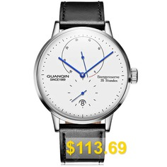 GUANQIN #Men #Leather #Band #Automatic #Mechanical #Watch #- #BLACK #WHITE