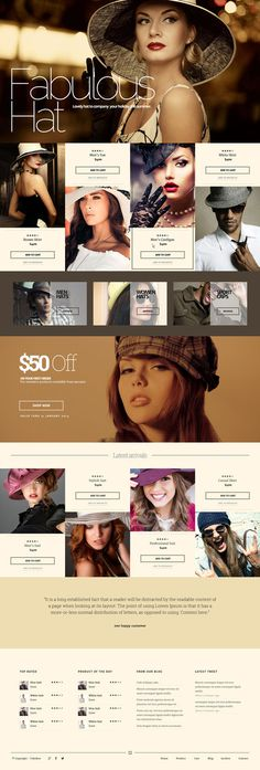 fashion, hat, ecommerce, brown, concept, layout, website