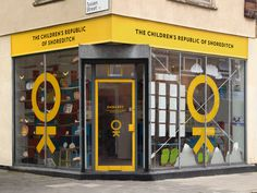 The Children's Republic of Shoreditch Burgess Studio #stickers #yellow #vinyl #identity #window #decals