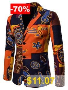 Stylish #Ethnic #Style #Print #Men #Coat #Suit #Blazer #- #TANGERINE