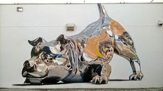 Chrome Dog Mural by Bik Ismo at Art Basel Miami murals dogs #chrome #dog