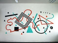 TOKAE #white #red #lines #graffiti #geometric #black #mint #toka #wall #art #painting