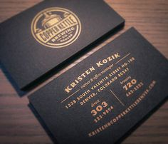 Copper Kettle Brewing Business Card #hierarchy #business #card #black #identity #gold #stationery #layout
