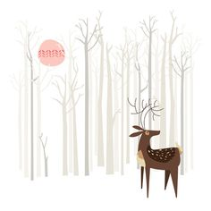Reindeer of the Silver Wood Art Print #poppy #red