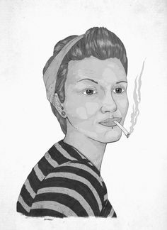 CRU - Fanzine on Behance by heymikel #white #smoke #cigaret #heymikel #pinup #black #illustration #and #drawing