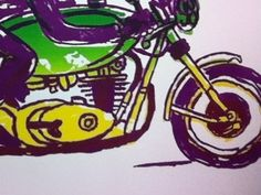 Dribbble - Cafe Racer Screen Print by Richard LaRue #lithography #screenprint #motorcycle