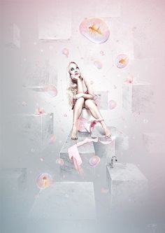 WC on the Behance Network #girl #bubbles #photo #fish #photograph #illustration #underwear