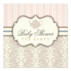 Chic Damask Vintage Baby Shower Tea Invitation #shower #baby #invitation