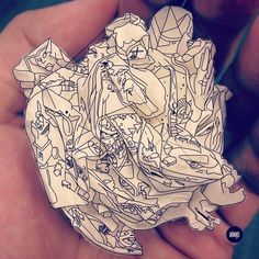 Crumpled Paper Heart - Behance Network #perspectives #drawing #illustration #art #paper