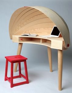 Duplex Workspace Retractable Hooded Desk by Sophie Kirkpatrick » Yanko Design #office #wood #furniture #desk #workspace