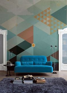 Geometric Wall Design from PIXERS #living room #interiors