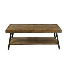 Rustic Hardwood Coffee Table with Steel Legs & Bracing