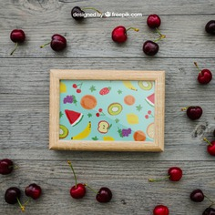 Summer concept with frame and cherries Free Psd. See more inspiration related to Frame, Mockup, Wood, Summer, Template, Photo frame, Photo, Fruits, Holiday, Mock up, Decoration, Healthy, Pineapple, Decorative, Vacation, Templates, Cherry, Aloha, Up, Season, Wood frame, Concept, Composition, Mock, Summertime, Cherries and Seasonal on Freepik.