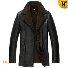 Black Sheepskin Lined Leather Coat for Men CW852531 #sheepskin #leather #coat