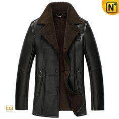 Black Sheepskin Lined Leather Coat for Men CW852531