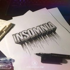 Insomnia by Adrian Iorga #lettering #white #drawing #black #and #hand #typography