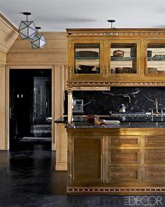 kw-elle-decor1 #interior #black #kitchen #marble #gold #luxury