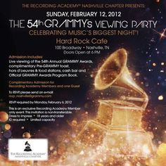 Nashville 54th Annual GRAMMY Awards Telecast Viewing Party | GRAMMY365 #grammy #invitation