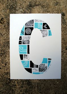 The Letter C #print #design #typography #type #alphabet #blue #screenprint #screen print #sea #letter