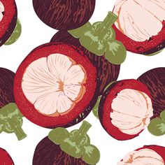 Fruit Pattern. MangosteenI #pattern #fruit #mangosteen #exotic