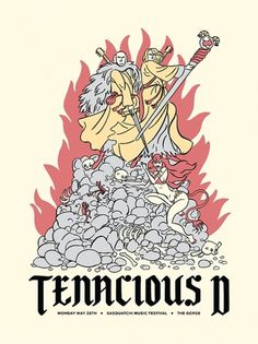 All sizes | Tenacious D | Flickr - Photo Sharing! #sasquatch #tenacious #gig #sword #illustration #demon #fire #poster #music #d