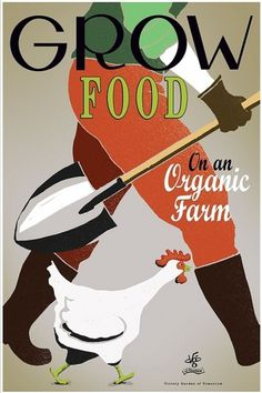 Grow Food poster art by joeseppi on Etsy #design #vintage #poster