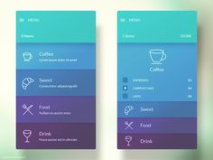 Menu Interface #soft #ui #modern