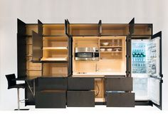 Hide the clutter of your entire kitchen with this modern, space-saving design.