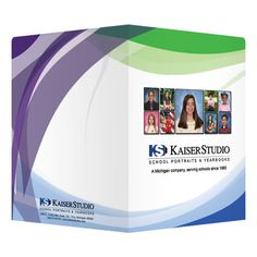 Kaiser Studio Photographer Presentation Folder (Front and Back View) #white #design #purple #blue #folder #green