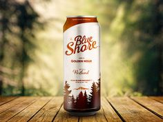 Blue Shore Beer Label by Mike Clarke #beer #mountain #branding #portland #label #logo #forest #can