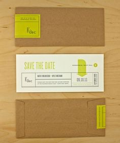 design work life » cataloging inspiration daily #white #green #black #grey #paper #envelope #lime #save the date