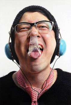 Hyper Realistic Painting by Kang, Kang-Hoon #glasses #gum #headphones #illustration #portrait #painting #mouth