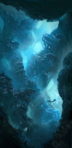 Clara Moon #ocean #dive #illustration #concept #deep #painting #art #underwater #cove