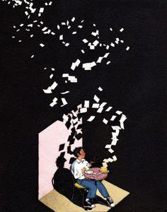 Tumblr #darkness #negative #yan #black #space #stories #illustration #art #nascimbene
