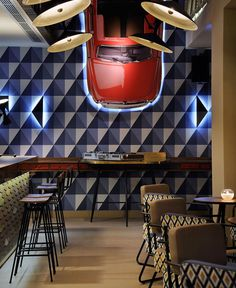 Cafe Bar Decorated With Geometric Shapes of 1960s