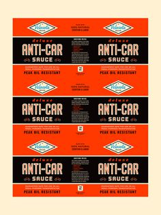 Aesthetic Apparatus: ANTI CAR SAUCE #packaging #bike #typography