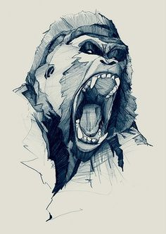 Gorilla Illustration #illustration #ink #pen